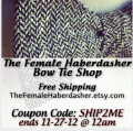 Black Friday Offer–The Female Haberdasher offers FREE Shipping at Bow Tie Shop